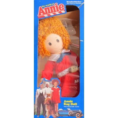 "LITTLE ORPHAN ANNIE RAG DOLL 16"" Tall w Removable SANDY Dog The World of Annie (1982 Knickerbocker)"