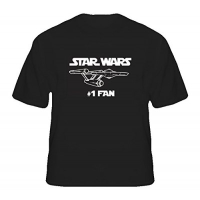 Star Wars Trek Number One Fan Funny Parody T Shirt S Black