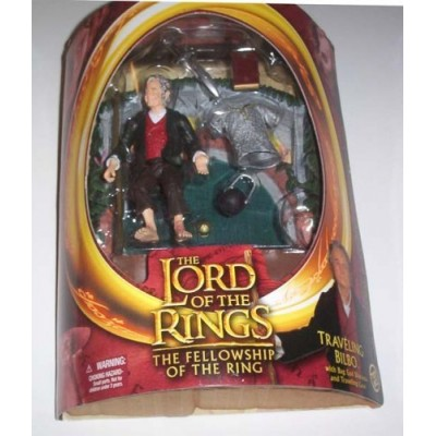 2003 TOY BIZ LORD OF THE RINGS THE TWO TOWERS WAVE 2 TRAVELING BILBO FIGURE HALF MOON PACKAGE