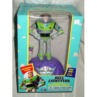 Disney Pixar Original Toy Story Buzz Lightyear Electronic Talking Bank (1999 Thinkway Toys)