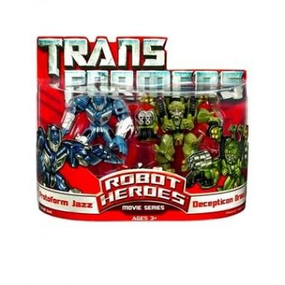 Transformers Movie Hasbro Robot Heroes Figure 2-Pack Protoform Jazz & Decepticon Brawl [Devastator]