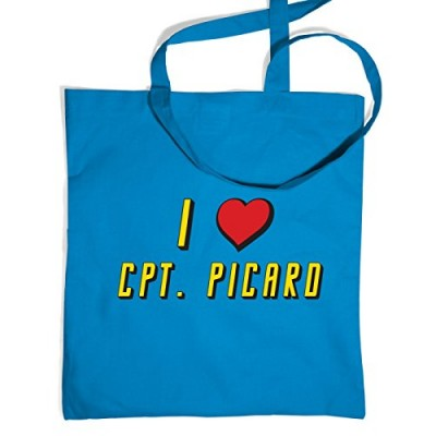 I Heart Captain Picard Tote Bag - Cornflower Blue One Size Tote Bag