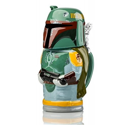Star Wars Boba Fett Stein - Collectible 22oz Ceramic Mug with Metal Hinge