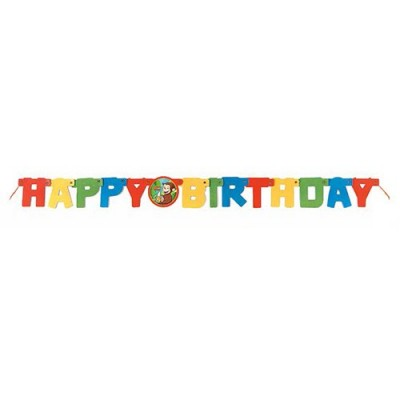 4ft Curious George Happy Birthday Banner