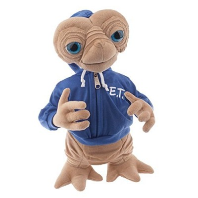 "15"" Plush E.T. Extra Terrestrial Plush Doll Wearing Blue E.T. Embossed Hoodie"
