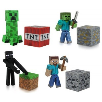 Minecraft Steve?, Zombie, Creeper, & Enderman Set of 4 Figures
