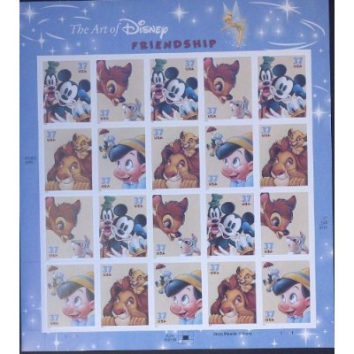 The Art of Disney Friendship Sheet of 20 x 37-cent Stamps, Scott 3865-68