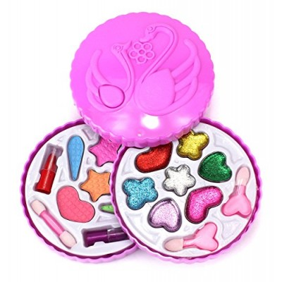 Fashion Girl Swans Case Pretend Play Toy Make Up Case Kit, Safe, Non-Toxic, Washable, Formulated for Children