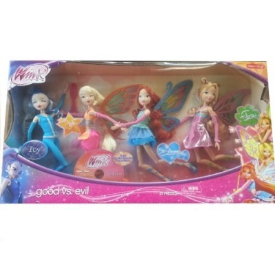 "Winx Club Good vs Evil 4 Pack Icy Bloom Stella Flora 11.5"" Enchantix Dolls"