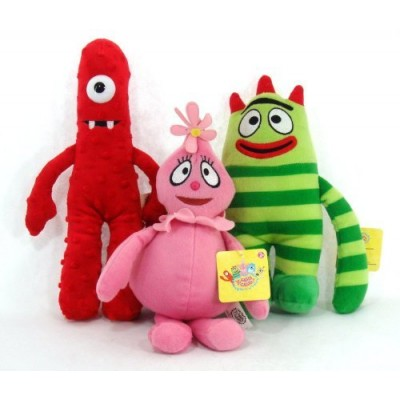 Yo Gabba Gabba Set of 3 Plush Dolls Muno Brobee & Foofa 9 inches